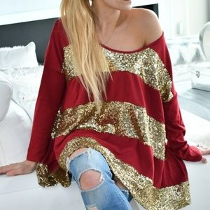 Tops - SEQUINS & STRIPED TOP
